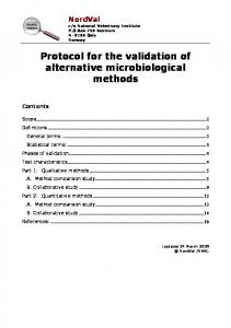 Protocol for the validation of alternative microbiological methods
