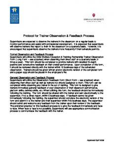 Protocol for Trainer Observation & Feedback Process