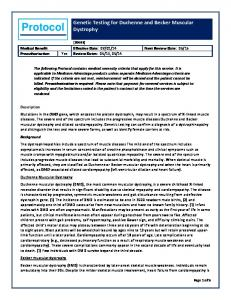 Protocol. Genetic Testing for Duchenne and Becker Muscular Dystrophy
