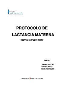 PROTOCOLO DE LACTANCIA MATERNA