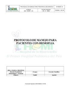 PROTOCOLO DE MANEJO PARA PACIENTES CON HEMOFLIA