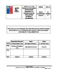 PROTOCOLO DE NORMAS DE PREVENCION DE INFECCIONES