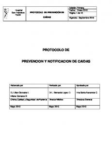 PROTOCOLO DE PREVENCION Y NOTIFICACION DE CAIDAS