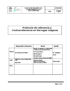 Protocolo de referencia y Contrarreferencia en Verrugas vulgares