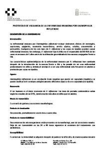 PROTOCOLO DE VIGILANCIA DE LA ENFERMEDAD INVASORA POR HAEMOPHILUS INFLUENZAE