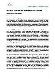 PROTOCOLO DE VIGILANCIA DE LA ENFERMEDAD POR VIRUS ZIKA