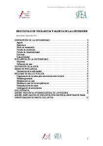 PROTOCOLO DE VIGILANCIA Y ALERTA DE LA LISTERIOSIS