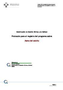 Protocolo para el registro del programa sobre. Asma del adulto