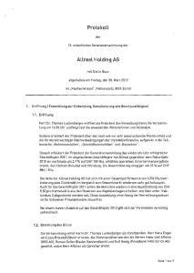 Protokoll. Allreal Holding AG