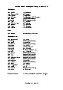 Protokoll der 104. Sitzung der Katalog-AG am