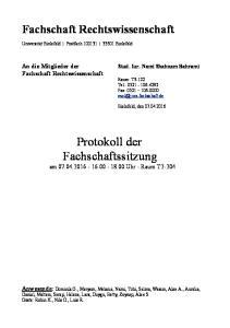 Protokoll der Fachschaftssitzung am Uhr - Raum T2-204