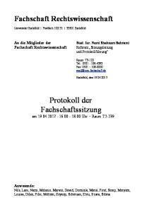 Protokoll der Fachschaftssitzung am Uhr Raum T2-239