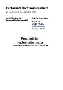 Protokoll der Fachschaftssitzung am Uhr - Raum T3-144