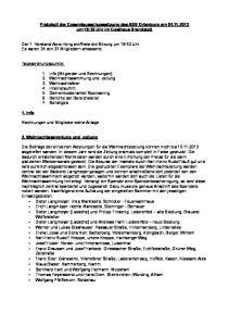 Protokoll der Gesamtausschusssitzung des ASV Ortenburg am um 18:30 Uhr im Gasthaus Brandstatt