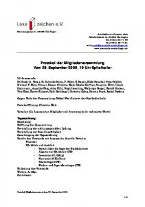 Protokoll der Mitgliederversammlung Vom 28. September 2009, 19 Uhr Spitalkeller