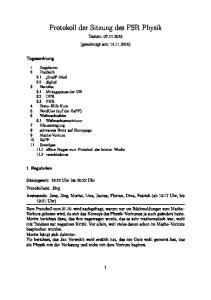 Protokoll der Sitzung des FSR Physik