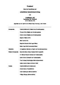 Protokoll. LifeWatch AG Neuhausen am Rheinfall CHE