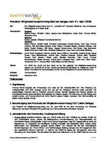 Protokoll Mitgliederversammlung Sektion Aargau vom 21. April 2008