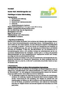 Protokoll Runder Tisch: Arbeitsintegration von Flüchtlingen in Baden-Württemberg