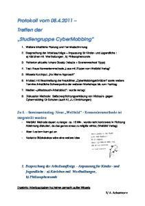 Protokoll vom Treffen der Studiengruppe CyberMobbing