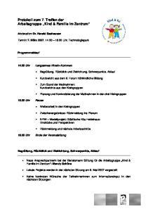 Protokoll zum 7. Treffen der Arbeitsgruppe Kind & Familie im Zentrum