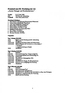 Protokoll zum III. Workshop der AG Junior Ranger auf Entdeckertour