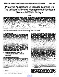 Prototype Applications Of Blended Learning On The Lessons Of Project Management Information System (MPSI) In College