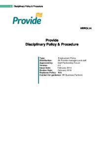 Provide Disciplinary Policy & Procedure