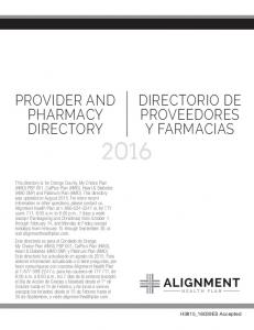 PROVIDER AND PHARMACY DIRECTORY