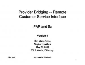 Provider Bridging -- Remote Customer Service Interface