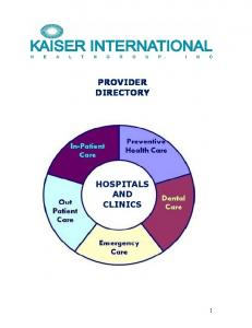 PROVIDER DIRECTORY HOSPITALS AND CLINICS
