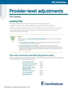 Provider-level adjustments