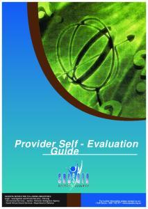 Provider Self - Evaluation Guide