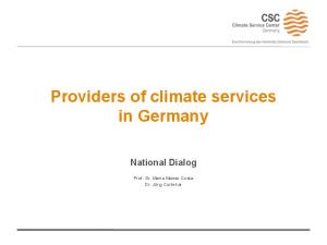 Providers of climate services in Germany