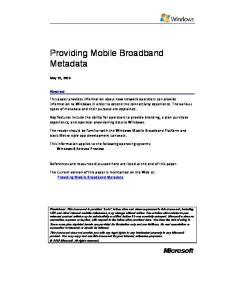 Providing Mobile Broadband Metadata