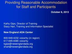 Providing Reasonable Accommodation for Staff and Participants