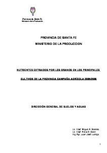 PROVINCIA DE SANTA FE MINISTERIO DE LA PRODUCCION