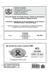 Provincial Gazette Provinsiale Koerant Gazete ya Xifundzankulu Kuranta ya Profense Gazethe ya Vundu