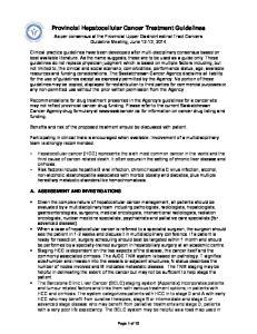 Provincial Hepatocellular Cancer Treatment Guidelines