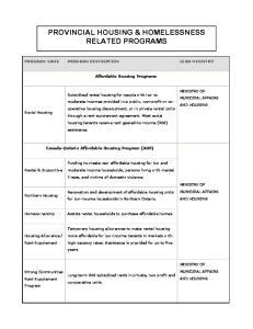 PROVINCIAL HOUSING & HOMELESSNESS RELATED PROGRAMS
