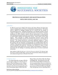PROVINCIAL SECESSIONISTS AND DECENTRALIZATION: PAPUA NEW GUINEA,