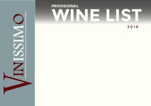 PROVISIONAL WINE LIST 2016