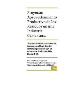 Proyecto: Aprovechamiento Productivo de los Residuos en una Industria Cementera