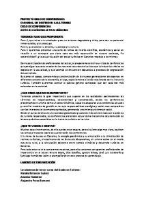 PROYECTO CICLO DE CONFERENCIAS CANARIAS, UN DESTINO IN-S.O.S.TENIBLE CICLO DE CONFERENCIAS del 15 de noviembre al 16 de diciembre