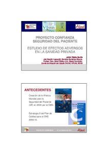 PROYECTO CONFIANZA SEGURIDAD DEL PACIENTE ESTUDIO DE EFECTOS ADVERSOS EN LA SANIDAD PRIVADA