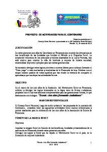 PROYECTO DE ACTIVIDADES PARA EL CENTENARIO