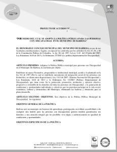 PROYECTO DE ACUERDO Nº ( ) POR MEDIO DEL CUAL SE ADOPTA LA POLÍTICA PÚBLICA PARA LAS PERSONAS CON DISCAPACIDAD EN EL MUNICIPIO DE BARBOSA