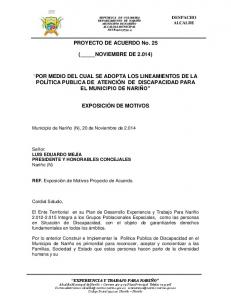 PROYECTO DE ACUERDO No. 25 ( NOVIEMBRE DE 2.014)