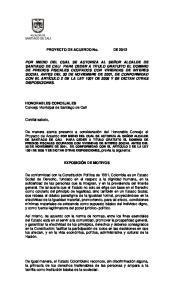 PROYECTO DE ACUERDO No. DE 2012