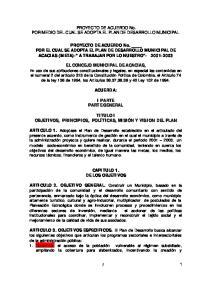 PROYECTO DE ACUERDO No. POR MEDIO DEL CUAL SE ADOPTA EL PLAN DE DESARROLLO MUNICIPAL